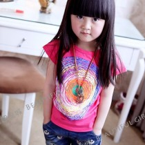 Colourful Swirl Design T-Shirt MTEE 018 Pink