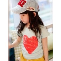 Red Heart Design T-Shirt MTEE 020 Light Green