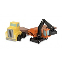 Trailer Excavator Wooden Vehicles Play Set